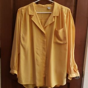 Vintage 100% Silk Blousy Yellow Blouse